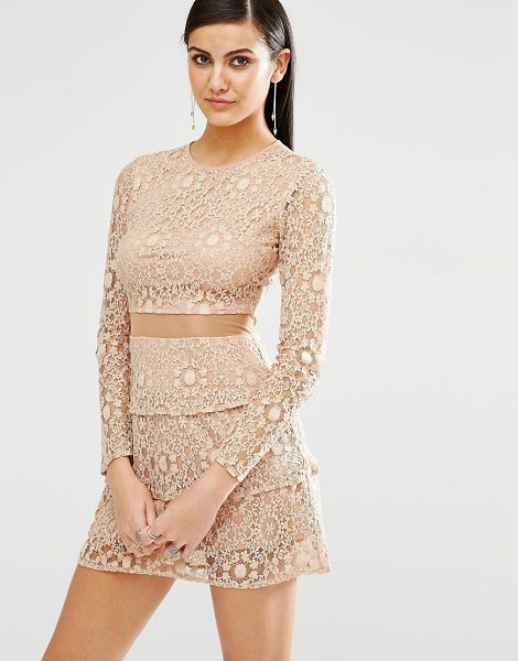 MISSGUIDED Mesh Insert Lace Skater Dress in tan - Dress by Missguided, Lined lace, Round neckline, Tiered...