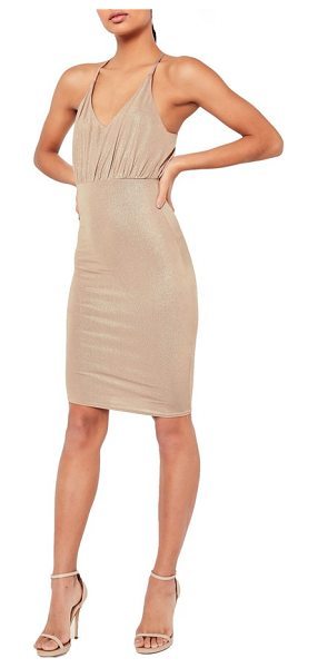 MISSGUIDED metallic midi dress in gold - The night is young and your dress is sparkly. Make a...