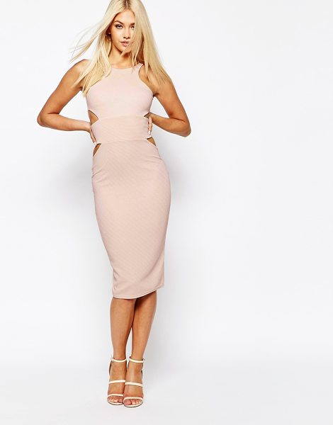 MISSGUIDED Midi Bodycon Dress with Cut Out Sides in beige - Midi dress by Missguided, Lined embellished mesh, Bead...