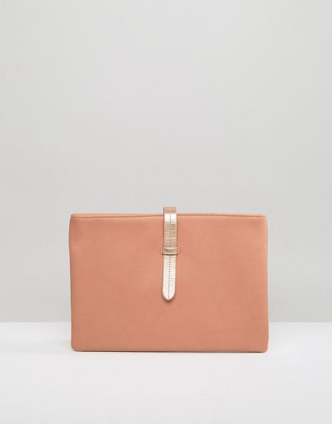 MISSGUIDED Minimal Clutch in beige - Clutch bag by Missguided, Faux-leather outer, Fully...