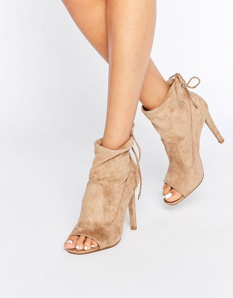 MISSGUIDED Peep Toe Heeled Sock Boot in beige - Boots by Missguided, Faux-suede upper, Panelled design,...