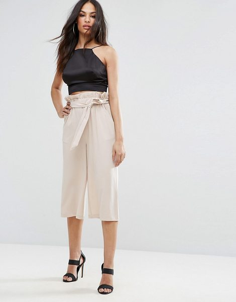 """MISSGUIDED Paperwaist Tie Belt Cullottes in pink - """"""""Culottes by Missguided, Smooth woven fabric, High..."""