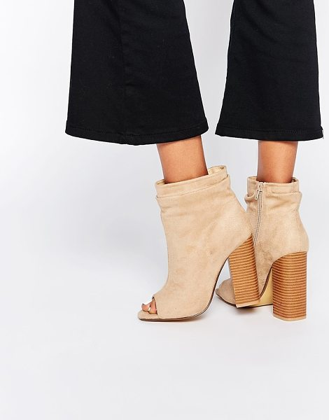 MISSGUIDED Peep toe slouch boot with block heel in sand - Boots by Missguided Faux suede upper Peep toe Layered...