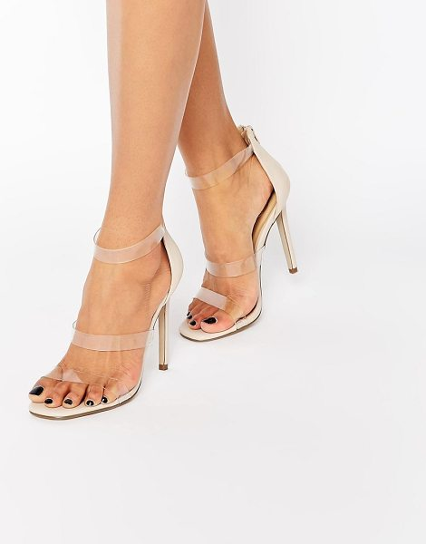 MISSGUIDED Missguided Clear Barley There Heeled Sandal in beige - Sandals by Missguided, Faux-leather upper, Barely there...