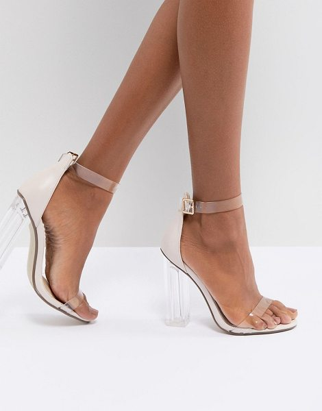 7249450323d MISSGUIDED Clear Block Heeled Sandal