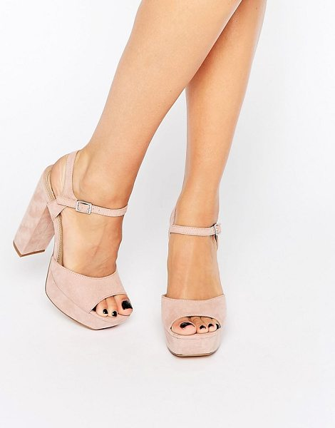 MISSGUIDED Platform Heeled Sandals in pink - Sandals by Missguided, Faux-suede upper, Ankle-strap...