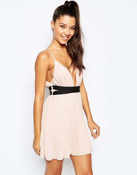 MISSGUIDED Pleated Plunge Neck Pleated Skater Dress in beige - Evening dress by Missguided, Lightweight pleated...