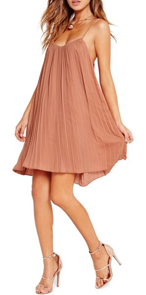 MISSGUIDED pleated swing dress in nude - Made with swingy accordion pleats, this romantic chiffon...
