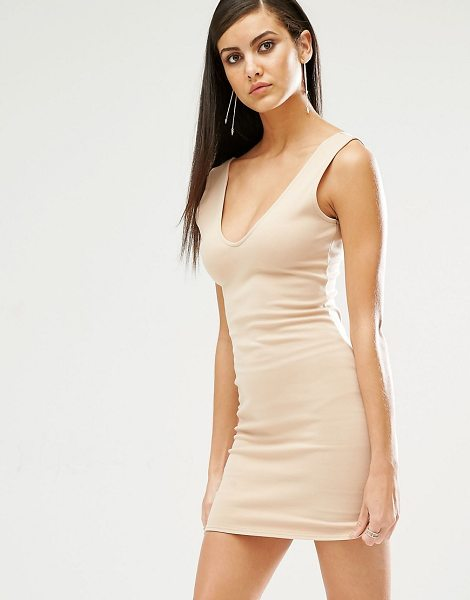 MISSGUIDED Plunge Neck Bodycon Mini Dress in beige - Body-Conscious dress by Missguided, Stretch jersey,...