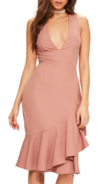 MISSGUIDED plunge ruffle body-con dress in rose - Dinner and dancing became a little more interesting in...