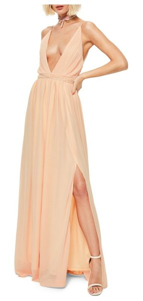 MISSGUIDED plunging neck maxi dress - Slender ties cinch the waistline and lace-up the back of...