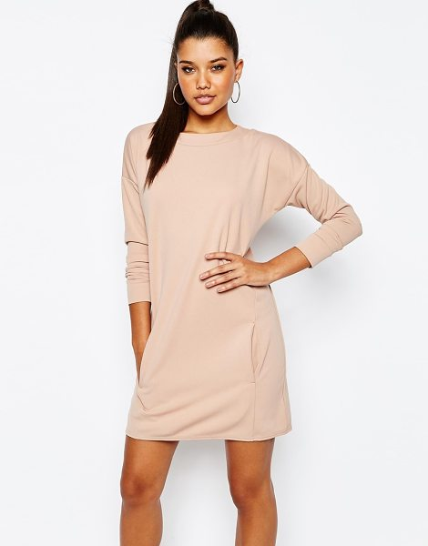 MISSGUIDED Pocket Detail Sweater Dress in beige - Dress by Missguided, Smooth woven fabric, High round...