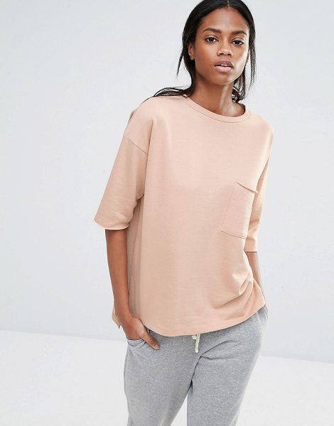 MISSGUIDED Pocket Front Sweater T-Shirt in tan - T-shirt by Missguided, Loop-back sweat, Round neckline,...