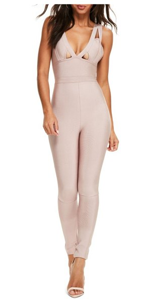 MISSGUIDED premium bandage jumpsuit in mauve - Pieced together and so on-point, this body-hugging...