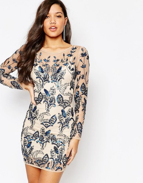 MISSGUIDED Premium Floral Embellished Bodycon Mini Dress in cream - Party dress by Missguided, Embellished woven fabric,...