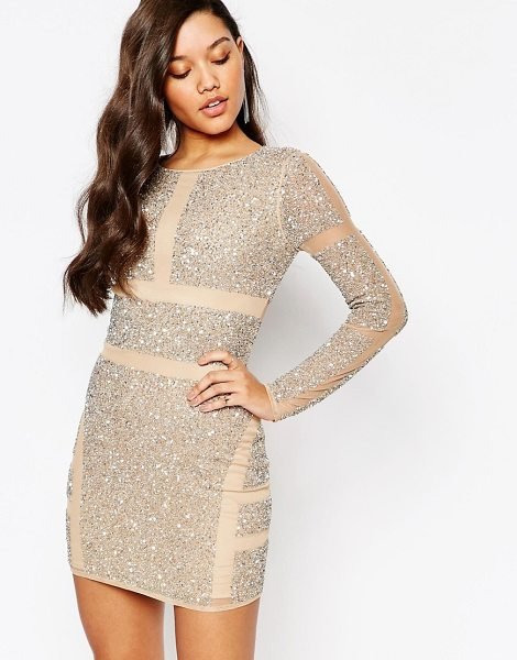 MISSGUIDED Premium paneled embellished mini dress in cream - Body-Conscious dress by Missguided, Woven fabric,...
