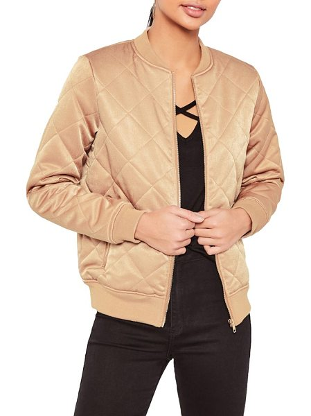 MISSGUIDED quilted satin bomber jacket - Sporty and feminine, this plush quilted bomber jacket...