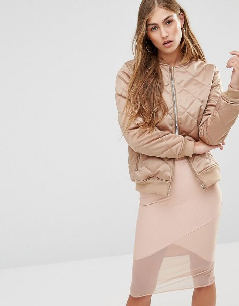 MISSGUIDED Quilted Satin Bomber Jacket in tan - Bomber jacket by Missguided, Quilted satin, Fully lined,...
