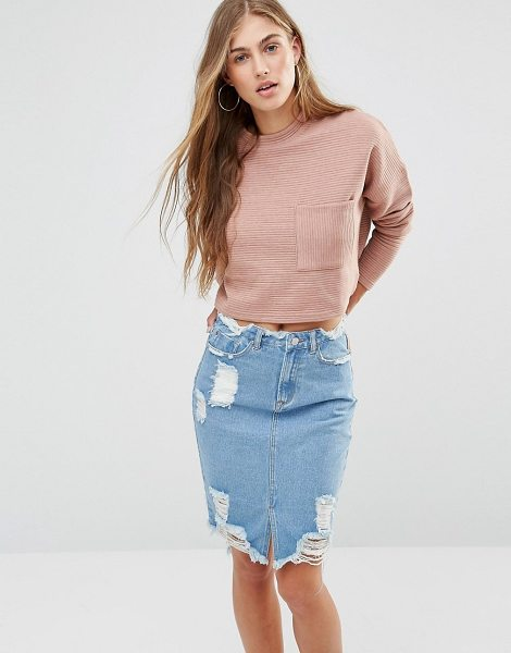 MISSGUIDED Ribbed Pocket Sweatshirt in pink - Sweatshirt by Missguided, Soft-touch sweat, Ribbed...