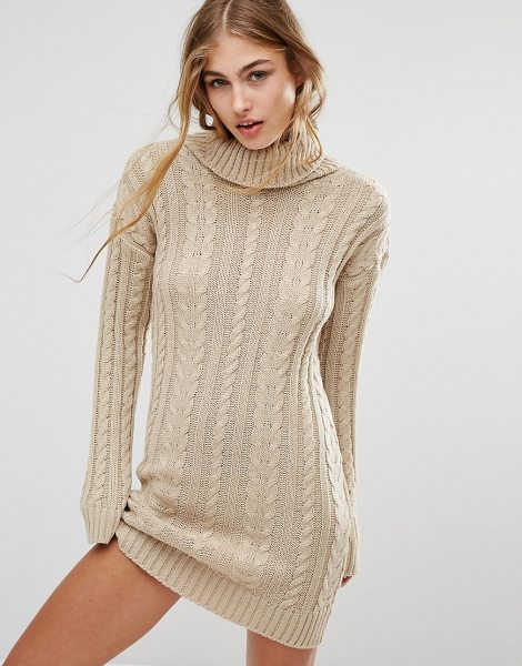 MISSGUIDED Roll Neck Cable Mini Dress in tan