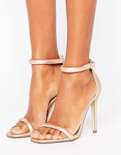 MISSGUIDED Rounded Strap Barely There Heeled Sandal Rose Gold in pink
