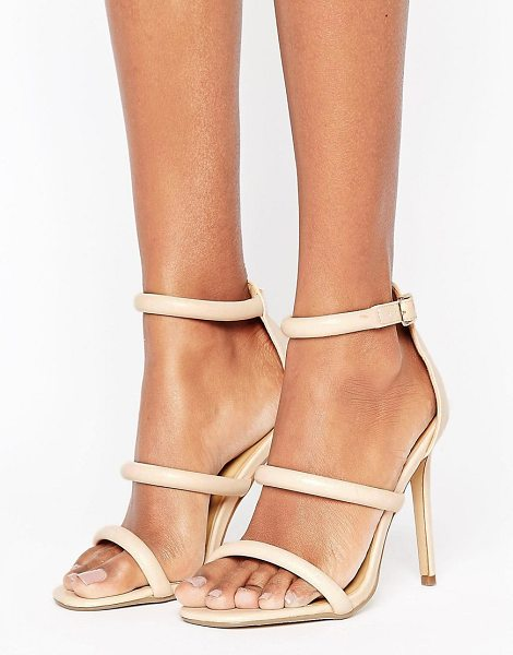 "MISSGUIDED Rounded Three Strap Barely There in pink - """"Sandals by Missguided, Faux-leather upper, Ankle-strap..."