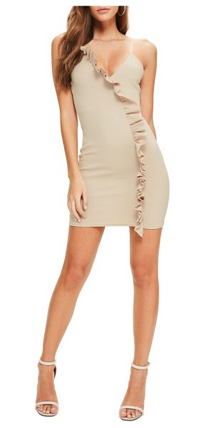 MISSGUIDED ruffle body-con dress in taupe - Take ruffles from sweet and girly to club-dancing sassy...