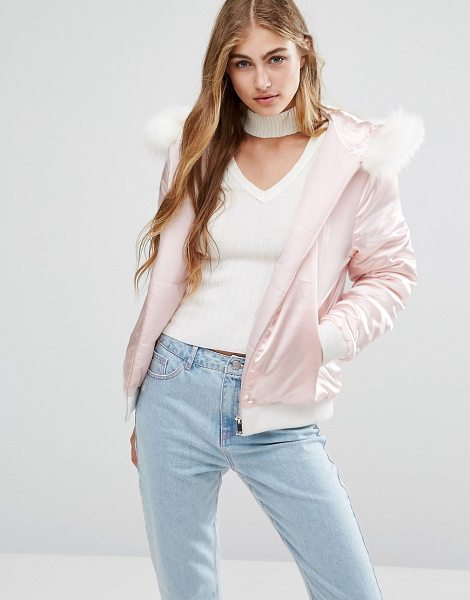 MISSGUIDED Satin Faux Fur Hood Padded Bomber in beige - Bomber jacket by Missguided, Smooth satin fabric, Padded...