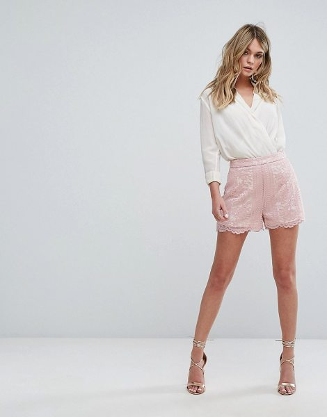 """MISSGUIDED Scallop Trim Shorts in pink - """"""""Shorts by Missguided, Lined lace, High-rise waist,..."""