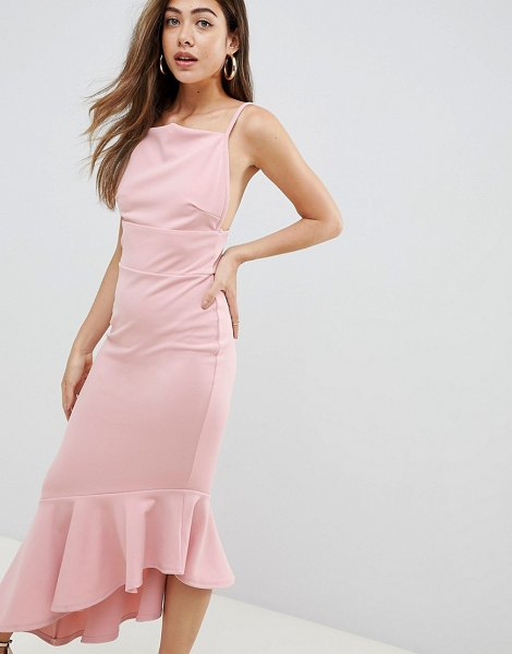 MISSGUIDED Asymmetric Hem Scuba Midi Dress in pink - Dress by Missguided, This is a bit of you, Square neck,...
