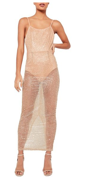 MISSGUIDED sheer glitter maxi dress in nude - Girl, you've got it going on, so you might as well dress...