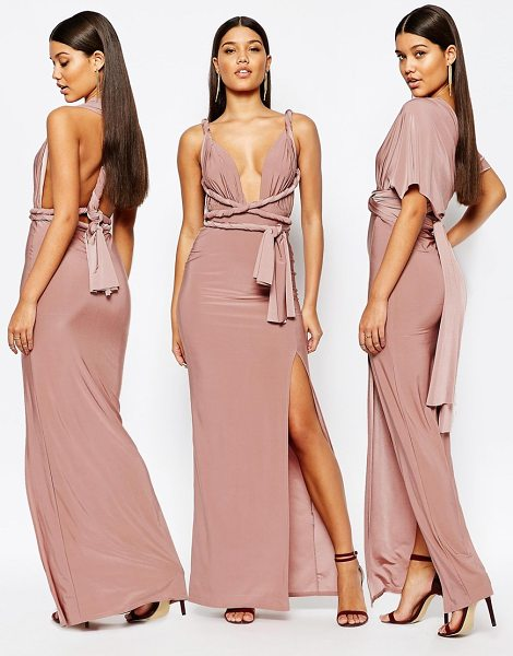 MISSGUIDED Slinky Multiway Maxi Dress in beige - Maxi dress by Missguided, Woven stretch fabric,...