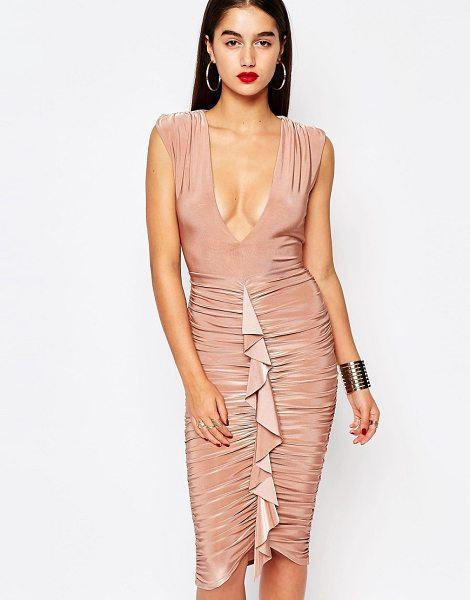 MISSGUIDED Slinky Ruffle Front Midi Dress in pink - Dress by Missguided, Slinky stretch fabric, Plunge...