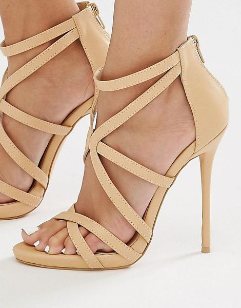 MISSGUIDED Strappy Heeled Gladiator Sandal - Heels by Missguided, Faux leather upper, Zip-back...