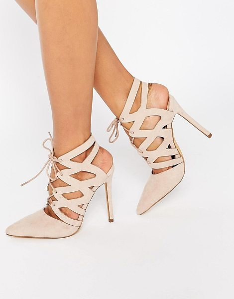 MISSGUIDED Strappy Lace Up Pumps in pink - Heels by Missguided, Leather-look upper, Lace-up...