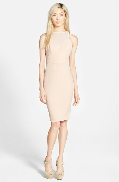 MISSGUIDED strappy panel midi dress in nude - Asymmetrical, two-tone paneling adds a touch of offbeat...
