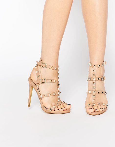 "MISSGUIDED Studded Heeled Gladiator Sandal in beige - """"Heels by Missguided, Faux leather upper, Strappy..."