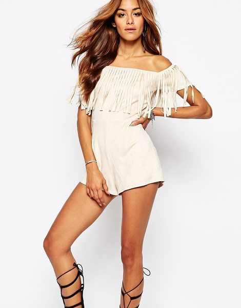 MISSGUIDED Suedette off the shoulder fringe front romper in beige