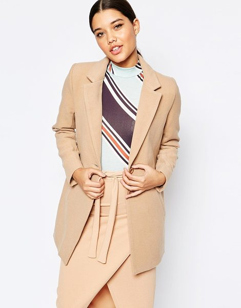 MISSGUIDED Tailored Blazer in tan - Coat by Missguided, Woven fabric, Notch lapel collar,...