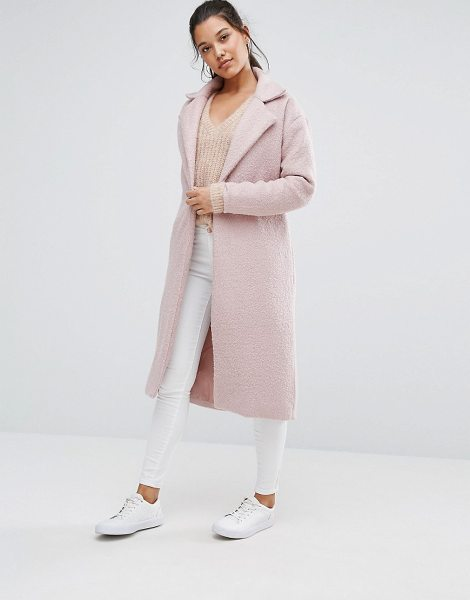 MISSGUIDED Textured Maxi Coat in pink - Coat by Missguided, Textured woven fabric, Notch lapels,...