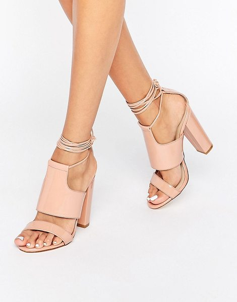 MISSGUIDED Tie Ankle Strap Block Heel - Shoes by Missguided, Patent upper, Tie fastening, Strap...
