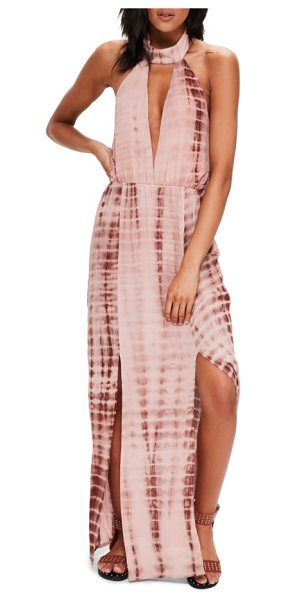 MISSGUIDED tie dye halter maxi dress in nude - A plunging neckline and back make this halter maxi dress...