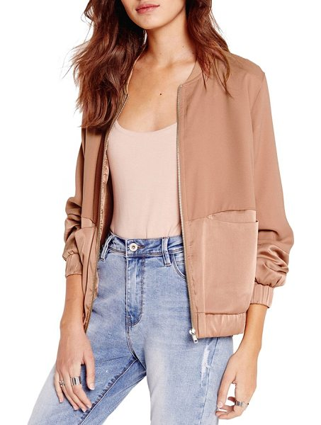 MISSGUIDED tonal satin bomber jacket in camel - This season's hottest jacket silhouette is finished with...