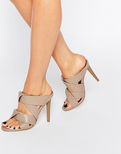 MISSGUIDED Twist Strap Slip On Heeled Mule in beige - Heels by Missguided, Faux-leather upper, Slip-on style,...