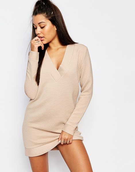 MISSGUIDED V-neck ribbed sweater dress in nude - Dress by Missguided, Heavyweight ribbed jersey,...