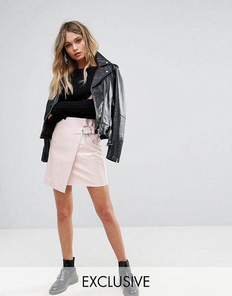 MISSGUIDED Vinyl Buckle Strap Mini Skirt in pink - Skirt by Missguided, Faux-leather fabric, High-shine...