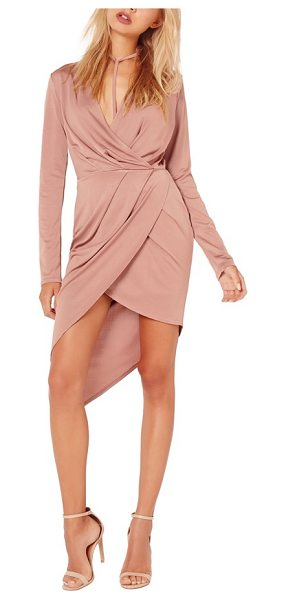 MISSGUIDED wrap dress in mauve - Create a polished look in seconds flat with this slinky...