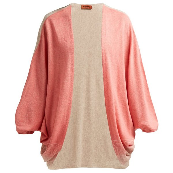 Missoni batwing sleeve cashmere blend cardigan in pink multi - Missoni - This tropical pink and camel-brown cashmere...