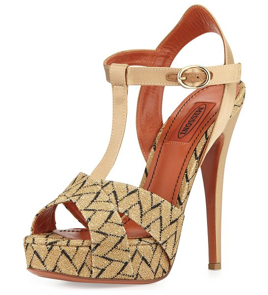 "Missoni Chevron-pattern high-heel sandal in gold/black -  Missoni printed platform sandal. 5"" leather covered..."