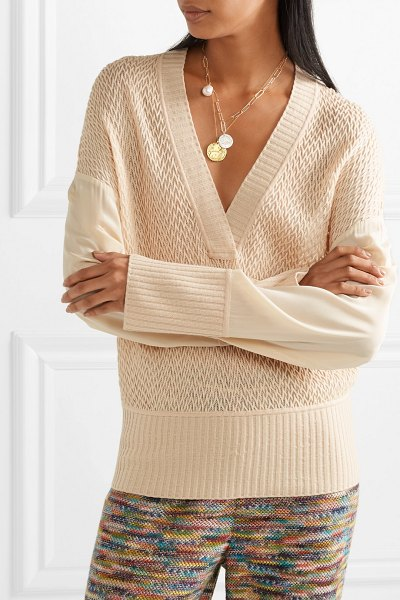 Missoni crepe de chine-paneled wool-blend sweater in baby pink - Missoni's sweater is versatile, flattering and has cool...